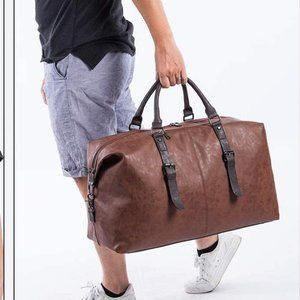 Oversized Leather Travel Duffel, Brown